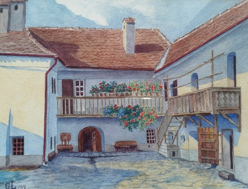 Historische Hofansicht, Gemälde v. Gusti Leitgeb 1916